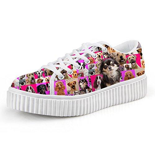 Bigcardesigns Womens Fashion Dogs Design Scarpe Casual High-sole Lace Up Papillon