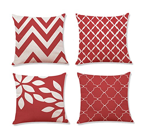 Set of 4 Cozy Throw Pillow Cases Covers for Couch Bed Sofa, Modern Two-tone Waves Geometric Square Pillowcases Toss Pillow Cushion Covers 18 X 18 Inches (Red and White)
