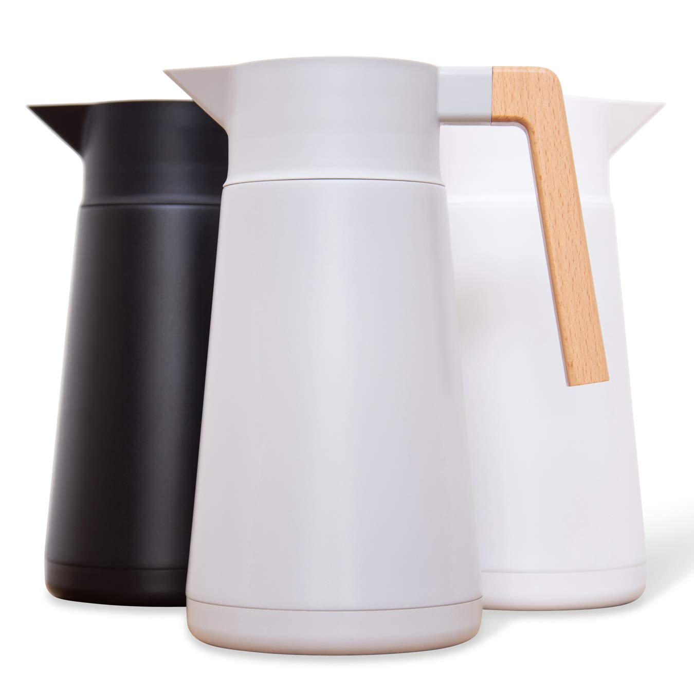 Large Thermal Coffee Carafe - Stainless Steel, Double Walled Thermal Pots For Coffee and Teas by Hastings Collective - Gray, Vacuum Carafes With Removable Tea Infuser and Strainer | 68 Oz.