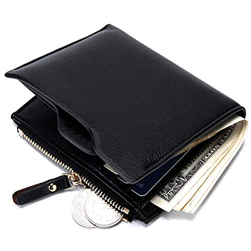 CoreLife Bifold Wallet, Mens RFID Blocking Slim Vegan Leather Wallet with Coin Zipper Pouch