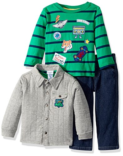 Nannette Baby Boys' 3 Piece Shirt Jacket Set With Tee and Pant, Green, (Nannette 3 Piece)