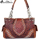 Montana West Classic Cow Girl Embroidery Handbag in Brown Western Studded Shoulder Purse Genuine Leather, Bags Central