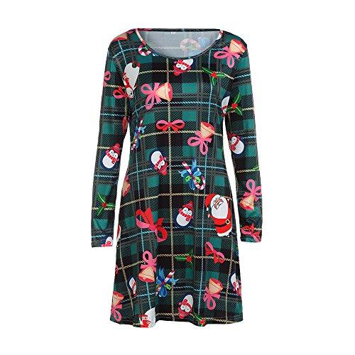 GOVOW Christmas Womens Round Neck Long Sleeve Dress Santa Printing Swing Dress -