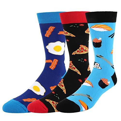 Novelty Box - Men's Funny Novelty Crazy Food Sushi Egg Pizza Cotton Crew Socks 3 Pack Gift Box