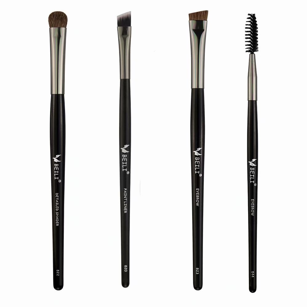 de849e2156a Amazon.com: BEILI Pro Eyebrow Brush Set Pony Hair Angled Eyeshadow Eyeliner  Brushes, 4 Piece Flat Definer Eye Brow Spoolie Eyelash Brush Kit: Beauty