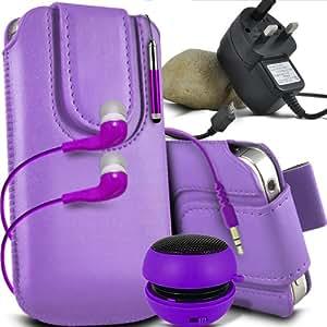 ONX3 Sony Xperia C Leather Slip cuerda protectora magnética de la PU Pull In Pouch Case lanzamiento rápido con Mini capacitivo Retractabletylus Pen, 3.5mm en auriculares del oído, mini altavoz recargable Cápsula, Micro USB CE aprobó 3 Pin Cargador (púrpura)