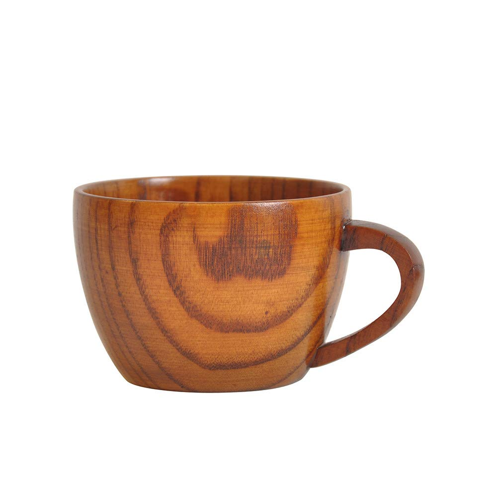 Wooden Tea Cups Top Grade Natural Solid Handmade Tea Cup Portable Cup Coffee Mug Retro Round Drinking Cup Camping Mug Tea Cup Eco-Friendly for Kids and Adults Best Gift (Brown)
