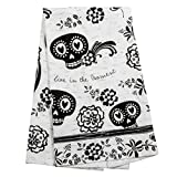 Karma Gifts Black and White Boho Tea Towels, Sugar Skull
