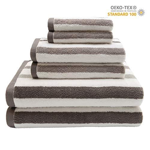 QUEEN HOME TEXTILES Ultra Soft 6 Piece Striped Bath Towel Set- 100% Long Staple Ringspun Cotton - 2 Bath Towels, 2 Hand Towels, 2 Washcloths - Super Absorbent (Stripe Brown)