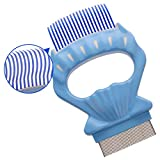 Pet Grooming Comb with Longteeth for Long-Haired Kitten Detachable Shell Massage Rake, Blue