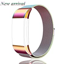 Tobfit Fitbit Charge 2 Bands Milanese Loop Stainless Steel Strap Large Small Metal Bracelet with Magnet Lock for Fitbit Charge 2(-Rose Pink, Large)