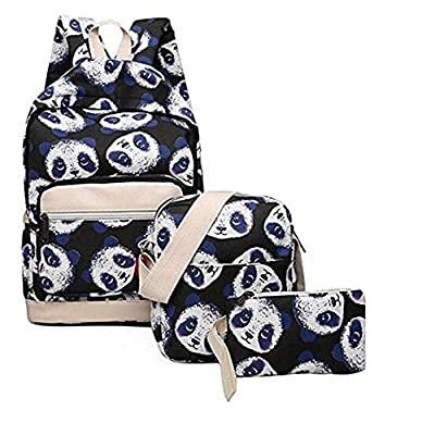 fb9756c53c67 SOCOOL 3Pcs Panda Pattern School Backpack Canvas SCHOOL Bag 30%OFF ...