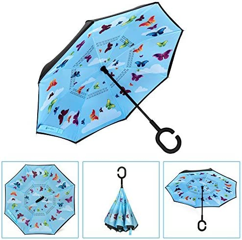Car Reverse Folding Umbrella Windproof UV Protection with C-Shaped Handle Inverted Umbrella with Doodle Prismatic Crystal Gothic Print