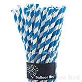 Biodegradable Paper Drinking Straws (Premium Quality), Pack of 100, Striped - Blue