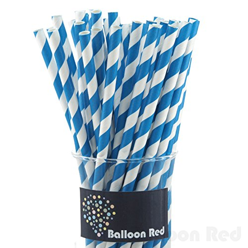 [Biodegradable Paper Drinking Straws (Premium Quality), Pack of 50, Striped - Blue] (Blue Drinking Hat)