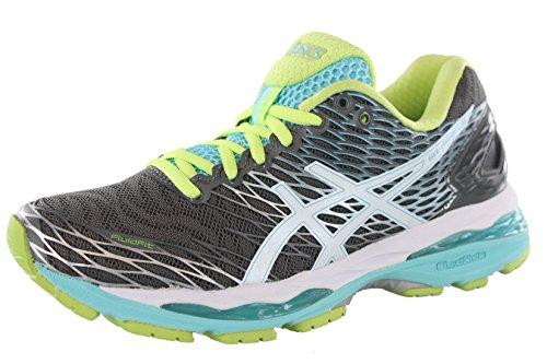 ASICS Women's Gel-Nimbus 18 Running Shoe, Titanium/White/Turquoise, 6 M US