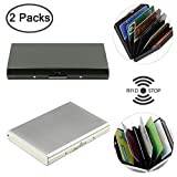Stainless Steel Credit Card Holder, DaKuan 2 Packs RFID Blocking Credit Card Protection Case for Men and Women, Front Pocket Metal Wallet for Cards.