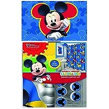 Disney Marvel New 13pcs Set (Shower Curtain with Hooks) OR 14pcs Set (Shower Curtain Set with Bath Memory Foam Mat) (Mickey Mouse, 14pcs Set - Shower Curtain set & Memory Mat)