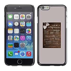 Cartel del corazón del amor Marrón Gris San Valentín- Metal de aluminio y de plástico duro Caja del teléfono - Negro - Apple Iphone 6 Plus 5.5