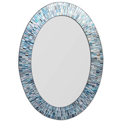 DecorShore Bohemian Rhapsody Coastal Blues Mosaic Mirror - 32x24 in Oval Shape -