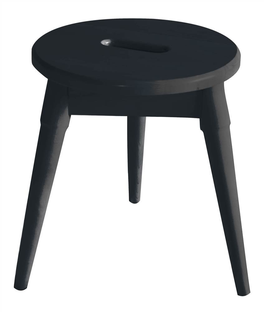 New Ridge Home Goods Arendal Solid Wood Round Tripod Stool, Graphite