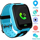 Kids Smart Watch Phone smartwatches for Children with GPS Tracker sim Card Anti-Lost sos Call Boys and Girls Birthday Compatible Android iOS Touch Screen (GPS Blue)