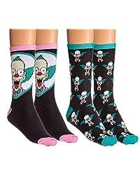 The Simpsons Unisex Casual Crew Socks - 2 Pack (Krusty)