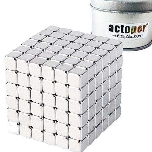 (actoper Magnetic Cube 216pcs 5mm Magnets Blocks Multi-Use Square Cube Magnets Toy Stress Relief Toys for Kids)