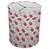 Hardback Linen Drum Cylinder Lamp Shade 8'' x 8'' x 8'' Spider Construction [ Red Flowers Love Garden ]