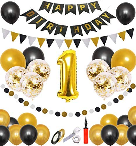 誕生日 バルーン 誕生日 飾り付け 風船 空気入れ付き ースデーバルーン 風船 Happy Birthday バルーン パーティー 装飾 パーティー お祝い 1歳 ゴールド バルーン