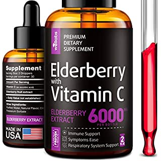 Elderberry Syrup - Organic Elderberries Extract 6000mg - Immune Support Sambucus Elderberry Syrup - Formulated in USA - Black Elderberry with Vitamin C - Sambucus Elderberry Syrup for Kids & Adults