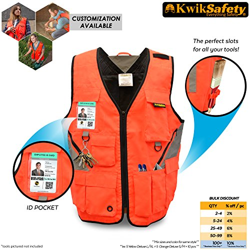 KwikSafety ARTISAN | Tool Vest | Reflective Multi Pocket Lightweight Work Wear | Hi Vis Volunteer Emergency Crew Surveyor Carpenter Electrician Engineer | Men Women Regular to Over Sized Fit | S/M