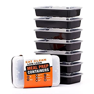 LIFT Certified BPA-Free Reusable Microwavable Meal Prep Containers with Lids, 28-Ounce, 7 Pack (Includes Ebook)