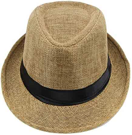 041a8084803217 YOMXL Fedora Hats for Women Men,Braid Straw Short Brim Jazz Panama Cap