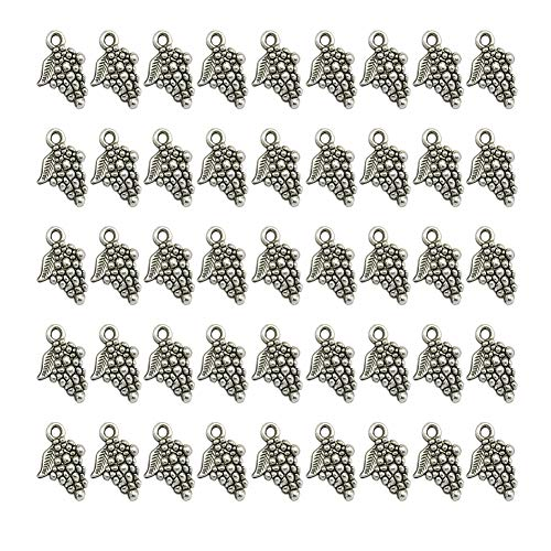 Mystart 100 Pieces 18mmx12mm Alloy Grape Pendants Charms DIY Earrings Necklace Jewelry (Grapes Pendant Necklace)