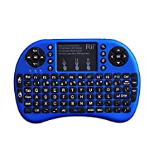 Rii i8+ Wireless mini Keyboard with Touchpad Mouse remote,LED Backlit, Rechargeable Li-ion Battery for Raspberry Pi 2/3, MacOS,HTPC, IPTV, Android TV Box ,Windows 7/8/10 (Blue with Backlit)