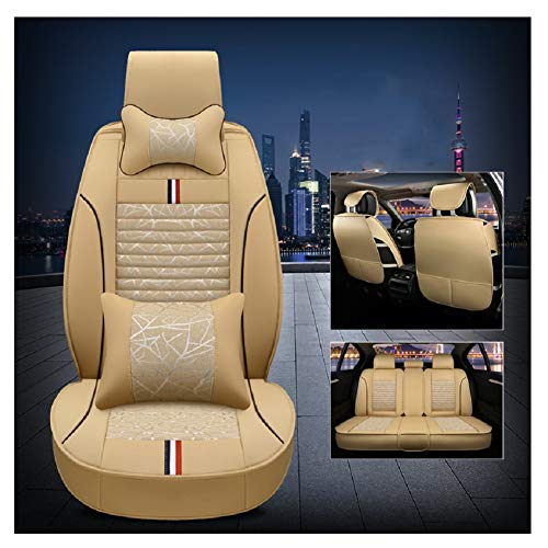 (Bamboo leaves wear-resistant leather and breathable linen Auto Car Seat Covers 5 Seats Full Set Universal Fit. (Luxurious Beige))