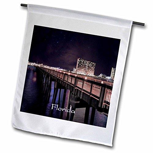 3dRose Florida - Image of Panama City Pier At Night - 12 x 18 inch Garden Flag - Pier City Panama