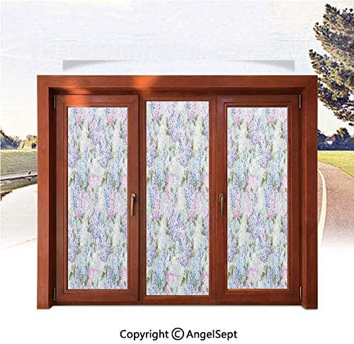 RWNFA Heat Control Decorative Stained Glass Window Films,Various Mix Hyacinth Garden with Flowers and Leaf Branches Summer Plants 22.8