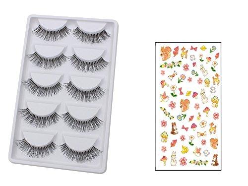 Bluelans® 5 Paar Lange Falsche Künstliche Wimpern Schwarz Eyelasches Wimpernverlängerung Make-up