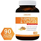 Turmeric Curcumin and Ginger, 95% Cucurminiods & Bioperine (NON-GMO & Vegan) For Joint Support – And Better Absorption with Black Pepper Extract – 90 Capsules Supplement – No Pills Review