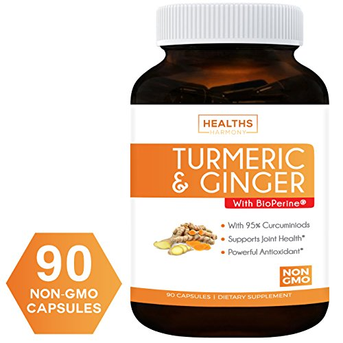 Turmeric Curcumin with Ginger, 95% Cucurminiods & Bioperine (NON-GMO & Vegan) For Joint Support – And Better Absorption with Black Pepper Extract – 90 Capsules Supplement – No Pills