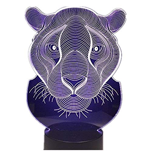 Lioness 3D Night Lamp Indoor Cute USB 7 Colors Night Light Bedside Lampara with Color Changeable ()