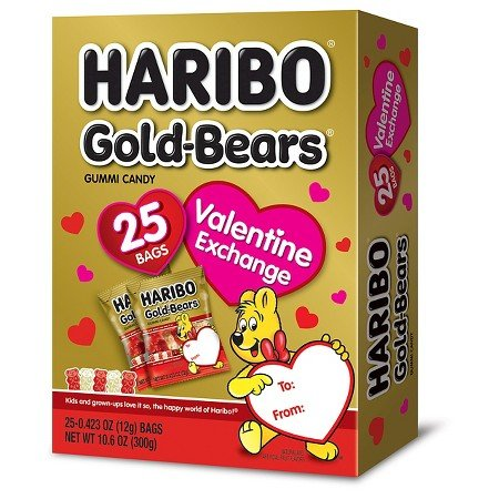 Haribo Gold-Bears Valentines - 25 Bags for Valentine Exchange