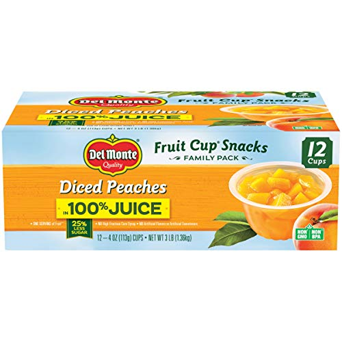 Del Monte Diced Peaches Fruit Snack Cups Family Pack in 100% Juice, 4-Ounce Cups