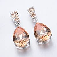 Saengthong Women Fashion 925 Silver Morganite Stud Drop Dangle Earring Wedding Jewelry New