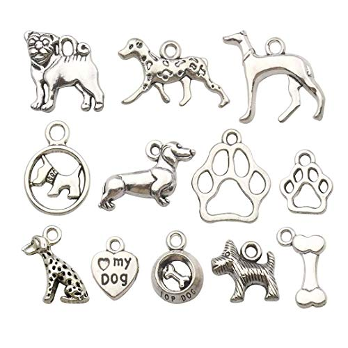 (Youdiyla 70 PCS Dog Charms Collection, Mix Silver Dog Puppy Bulldog Dog Lover Person Poodle Chihuahua Greyhound Westie Dog Breed Dog Paw Metal Charm Pendant Supplies Findings for Jewelry Making)