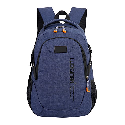 Laptop Designer Backpack Canvas Travel Dark Bag Blue Kanpola Unisex Backpacks Black Student Bags BZUxxwq
