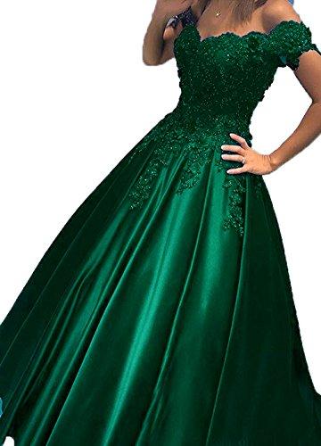 Little Star One Piece  Women's Off The Shoulder Evening Gown Prom Dress, 3 Dark Green, 12