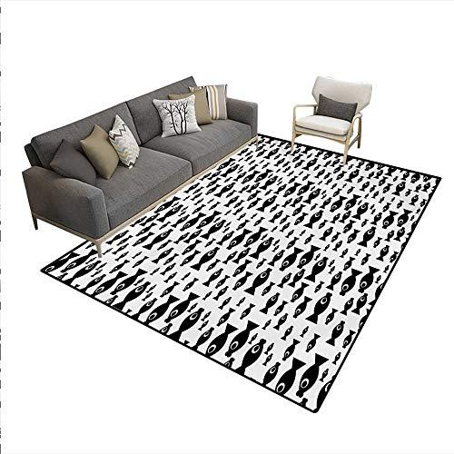 Carpet,Doodle Style Cartoon Aquatic Animal Silhouettes Giant Eyes Monochrome Design,Print Area Rug,Black White,6'x9' Animal Print Design Planters